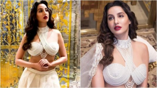 Nora Fatehi in pearl blouse and chikankari lehenga will leave you spellbound. New video