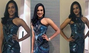 PV Sindhu shines like an absolute star in this shimmery gown