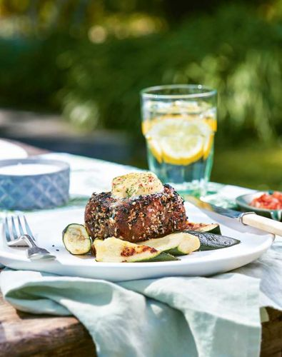On the BBQ: Sesame-Crusted Beef Fillet Steaks with Barbecued Zucchini and Chilli Butter