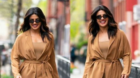 Priyanka Chopra is raising NYC temperature in nude coloured jacket and pants