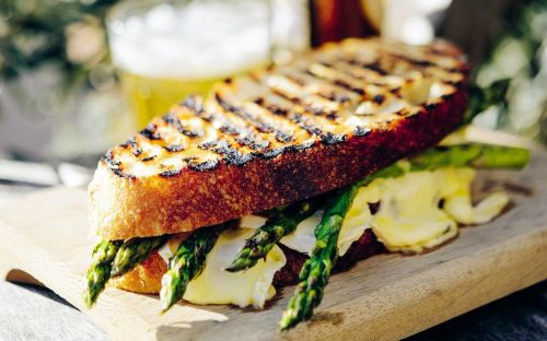 Charred asparagus and cambozola cheese toastie recipe