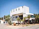 Surfing couple convert a truck into a moving hotel so they can offer guests the best beach spots