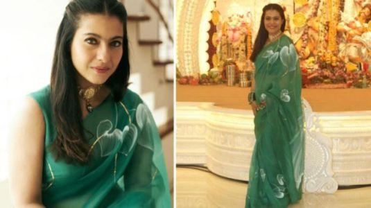Kajol's Rs 19k organza saree is a perfect pick for Diwali evening party. See pics