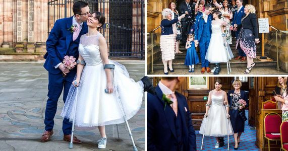 Bride walks down aisle on crutches after stranger broke her ankle jumping on her back