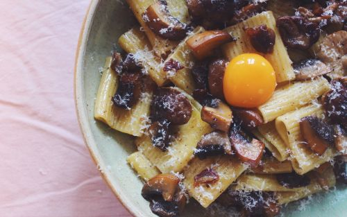 Tonight's dinner: Pasta with brown butter mushrooms and egg yolk