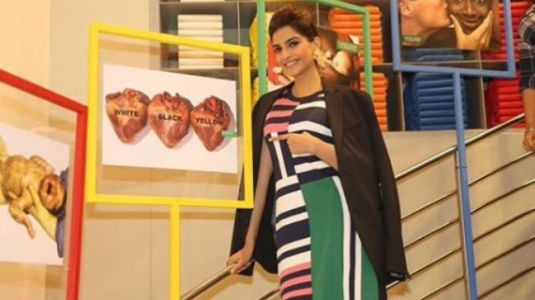 Sonam Kapoor in this striped outfit is a classic case of styling gone wrong