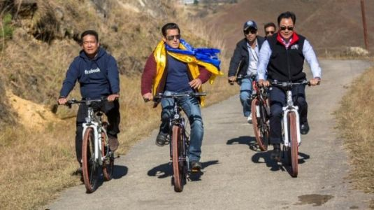 Salman Khan cycles through the scenic hills of Arunachal Pradesh. See pics