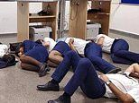 Picture shows 'Ryanair crew sleeping on an airport floor in Spain'