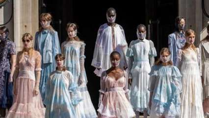 Turkish designer Bora Aksu presents pandemic-inspired collection at London Fashion Week
