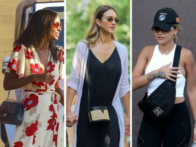 Celebs Run Errands and Nosh Sushi with Bags from Chanel, Versace, & Hunting Season