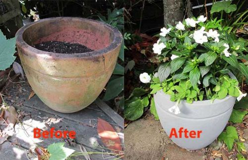 Quick DIY project: Give instant glam to a tired old terracotta pot