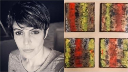 Mandira Bedi spent Wednesday creating abstract painting at home. Watch video