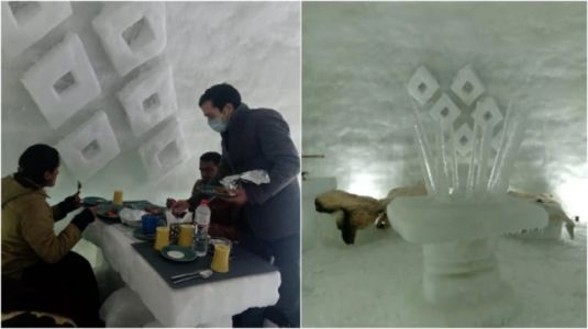 New cafe in Kashmir lets you enjoy a cup of coffee inside an igloo. All pics