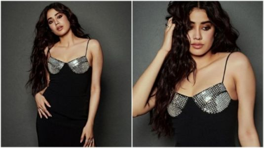Janhvi Kapoor in spaghetti-strap black dress is drop dead gorgeous for Roohi promotions