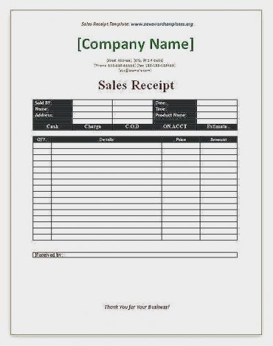 30 Awesome Microsoft Word Receipt Template Free Pics