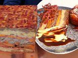 Cafe serves bacon cake topped with 'floss' and cheese