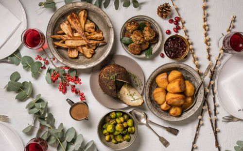 The ultimate vegan Christmas menu: roast celeriac, miso sprouts, stuffing, red wine and mushroom gravy and more