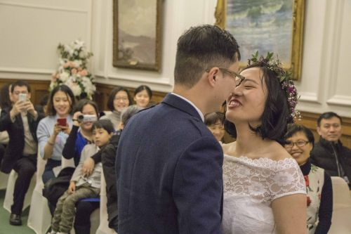 Couple from neighbouring cities tie the knot after travelling 5,500 miles to meet