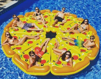 If you're going on a mates holiday, you'll need this pizza pie pool float