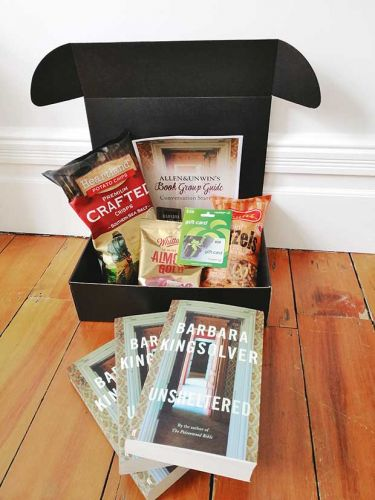 Be in to win a 'Book Club in a Box': Three copies of Unsheltered by Barbara Kingsolver and a selection of delicious snacks