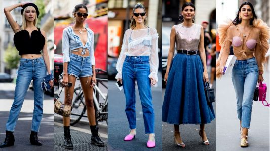 The Street Style Crowd Dressed Up Denim With Fancy Tops at Paris Couture Week