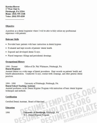 30 New Dental Hygiene Resume Template Pictures