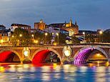 Welcome to technicolour Toulouse! Cafes rich in scarlet and gold - and violet with everything