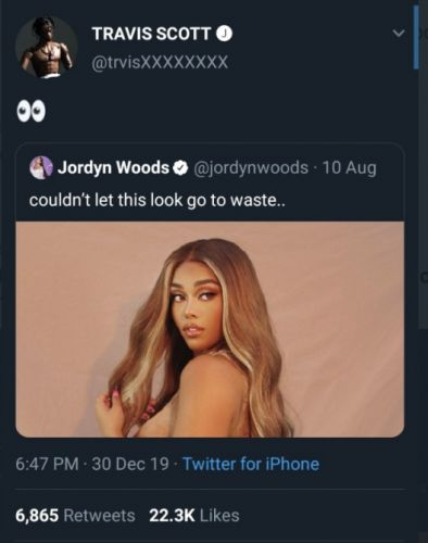 Some Thought Travis Scott Was Flirting With Jordyn Woods, Thanks to a Twitter Impersonator