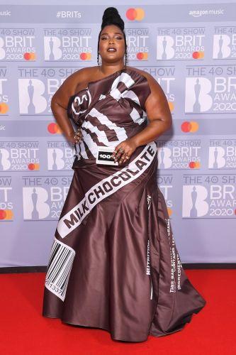 Lizzo Dressed Like a Literal Chocolate Bar for the Brit Awards, and I'm Screaming
