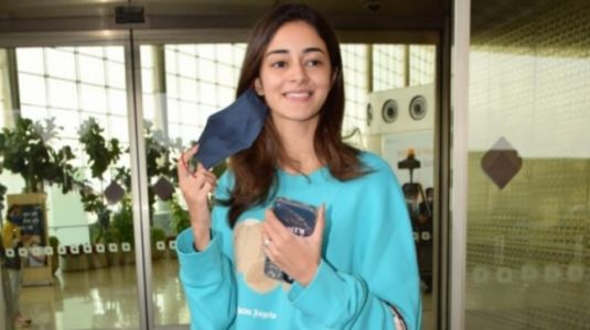 Ananya Panday in blue mini sweatshirt dress and Rs 2 lakh bag spreads casual vibes