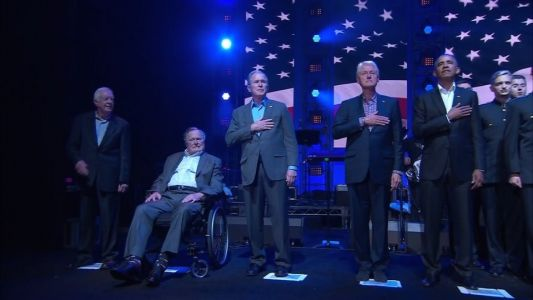 Five ex-presidents call for unity - and donations - at hurricane benefit concert