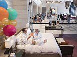 Couple spend 24 hours in bedroom set up in a hotel LOBBY