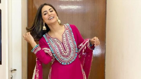 Hina Khan in Rs 37k rani pink sharara set is ready for the festivities to begin