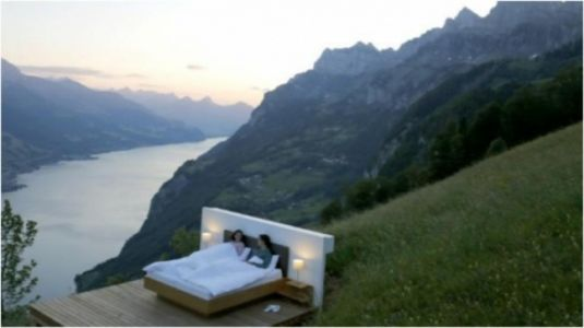 Outdoor hotel rooms in the Swiss Alps give new meaning to light and airy