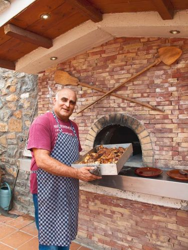 Two authentic Greek woodfired oven recipes: Coriander and Pork and Greek Chicken with Vegetables