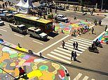 How deadly intersections are being made safer - thanks to brightly painted patterns on the roads