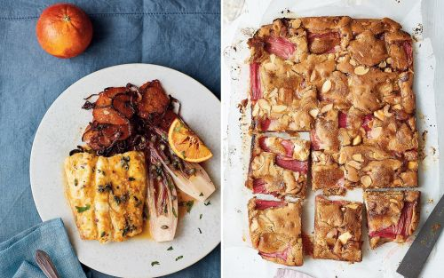 A feast for February - starring the best rhubarb and white chocolate blondies