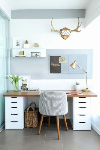 30 Fresh White Desk with Filing Cabinet Graphics