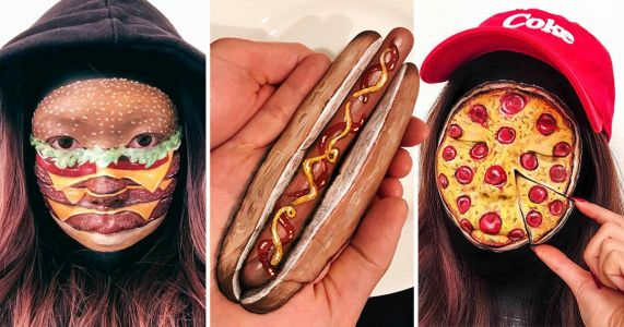 How about painting your face like a pizza next time you go out?