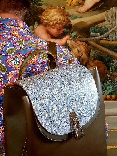 Cuoioifficine Florence Italy - Applying Marble Art To Leather