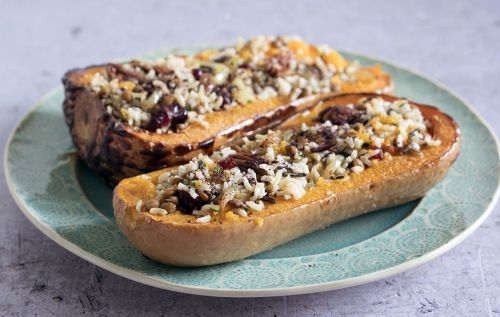 Vegan Christmas recipe: wild rice, cranberry and pecan stuffed butternut squash