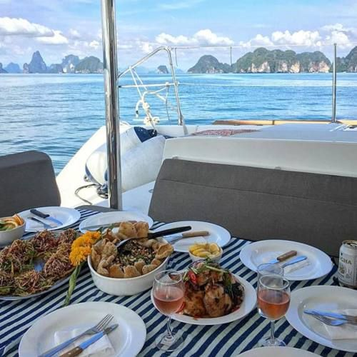 DispatchFrom thesailingcollective lunching aboard the Lagoon