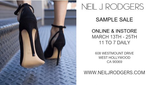 Neil J. Rodgers Online + In-Store Sample Sale, March 13th - 25th - Los Angeles