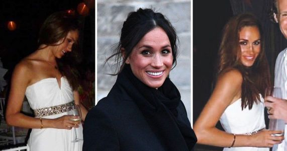 What did Meghan Markle's first wedding dress look like for Jamaican wedding to Trevor Engelson?