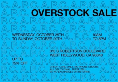 DO NOT MISS CULT-FAVORITE FRENCH LABEL A.P.C FOR THEIR FIRST L.A OVERSTOCK SALE!