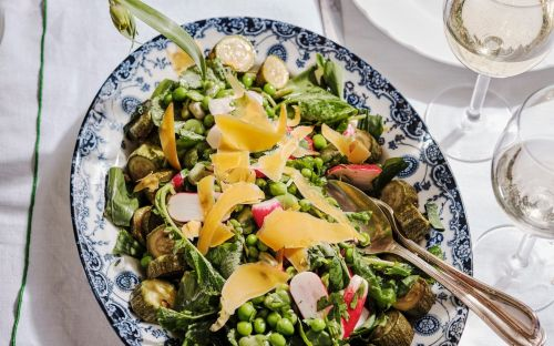 Courgette, pea and radish salad recipe
