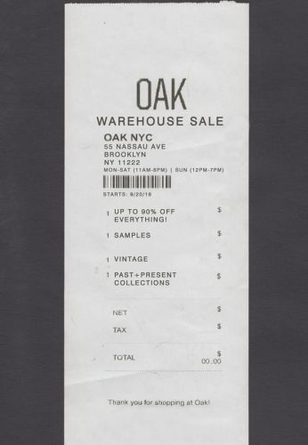 OAK Warehouse Sale - 9/20 to 9/27 - Brooklyn, NY