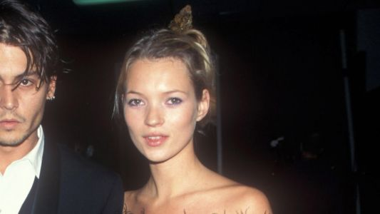 Great Outfits in Fashion History: '90s Kate Moss in a Feather-Trimmed LBD