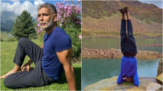 Milind Soman pulls off headstand near Alpather Lake during trip to Gulmarg. Watch video