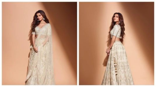 Tara Sutaria's muted gold lehenga by Anita Dongre is fit for a queen. See pics